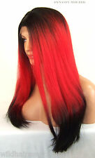 USA Yaki Red Dark Roots Lace Front Wig Heat OK Iron safe Long Straight Yaky Dyn