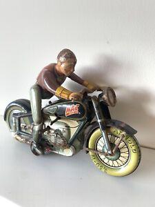 1948 Arnold Mac 700 Tin Plate Clockwork Motorcycle Bike Harley Advertising Rare