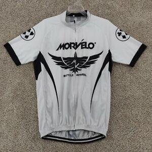 Morvelo Cycling Jersey Men's XXL Full Zip Short Sleeve Black White Back Pockets