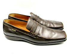 LV Louis Vuitton 7.5 Men's Mocassin Brown Leather Shoes Penny Loafers Square Toe