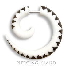 Ohrringe GESCHRAUBT ! Spirale Horn Bone Fake Plug Piercing Schmuck F023