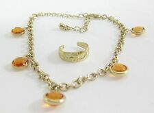 New Goldtone Anklet with Amber Stones and Matching Toe Ring Set #Z1078
