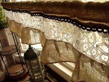 "72"" French vintage white lace-Shabby Rustic Chic Ruffle BURLAP Valance Farmhouse"