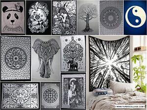 Wall Tapestry Black & White Indian Mandala Yoga Mat Dorm Decor Poster Hanging