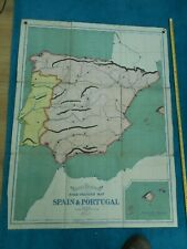 100% ORIGINAL LARGE ELEMENTARY SPAIN PORTUGAL  FOLDING MAP BY BACON C1900