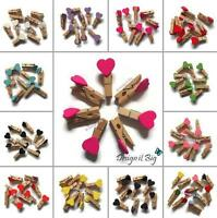 35mm Mini Hearts Clothes Pegs Wooden Craft Embellishments Wedding Photo Decor