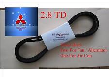 Pajero or Shogun 2.8 TD  2 x Alternator / Fan Belt + Air Con Belt Kit 93-2000
