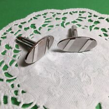 Swank Mens Cufflinks Silvertone Oval Shape Nice Looking Pair Of Designer Signed