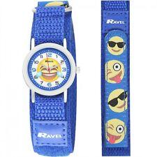 Ravel Children's  Kids Blue Nylon fastening Emoji Strap Watch