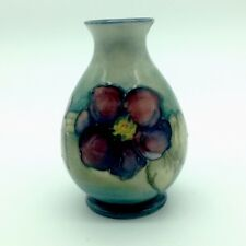 "Moorcroft 4.5"" Clematis Flower Floral Vase Antique Vintage (Chipped)"