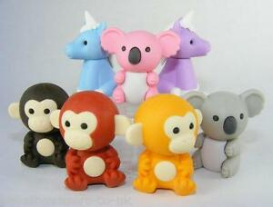 Novelty Japanese IWAKO Puzzle Eraser Rubbers - IWAKO Monkey and Koala Erasers