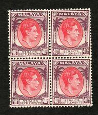 MALAYSIA - STRAITS SETTLEMENTS : 1937 40c SCARLET AND DULL PURPLE BLOCK OF 4 U/M