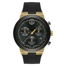 NEW MOVADO BOLD FUSION CHRONOGRAPH GOLD ION PLATED CERAMIC BEZEL RUBBER 3600712