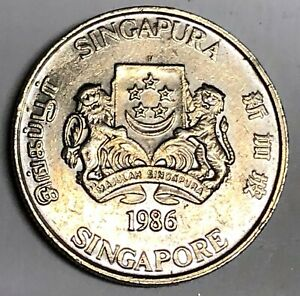 # C5702    SINGAPORE   COIN,     20  CENTS   1986