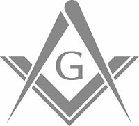 MASONS SQUARE DECAL / STICKER - SET OF 2 - SILVER