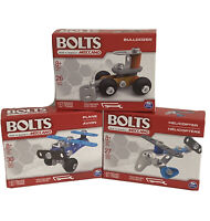 New Bolts By Meccano Building Kits Metal Lot of 3 Plane, Bulldozer, Helicopter