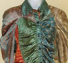 New  SACRED THREADS Funky Ruched Romantic Edwardian Medieval Blouse Top Sz S