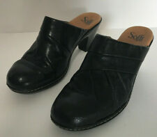 Sofft Black Leather Shoes Mules Clogs Size 7 1/2 M