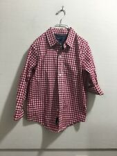 Gap Kids youth boys size 5/6 red and white checked button front shirt
