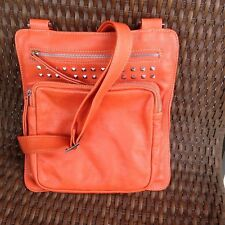 Fenn Wright Manson Leather Xbody Shoulder Messenger Bag Orange w/ Leopard Lining