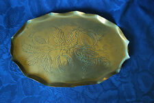 Vintage Arts and Crafts Brass Tray with Medlar Detail - Handmade         #1007