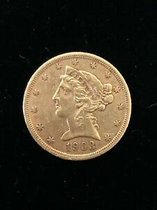 1903-S $5 Liberty Gold Coin.! Uncertified.! NR.!!