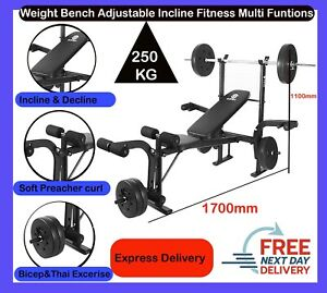 Weight Bench Press Adjustable Incline Fitness Multi Home Gym Dumbell Bicep Curl