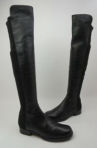 Stuart Weitzman 5050 Over the Knee OTK Stretch Leather Boots Black Size 5.5 M.