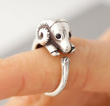 Baby Ram Animal Ring Adjustable Silver Sheep Finger Wrap AR-25