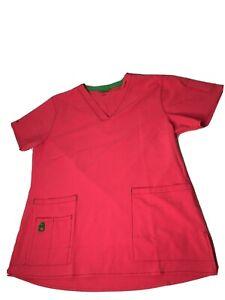 Carhartt Force Scrub Top Uniform Shirt Large Pink Medical Women Nursing