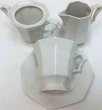 Independence Ironstone Interpace Japan White Octagonal Ribbed 14Pc. Dinnerware