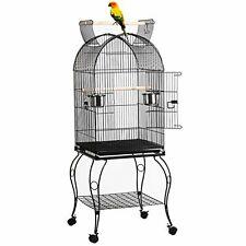 Vintage Bird Cage Metal Canary Cockatoo Macaw Antique Medium Wheels Heavy Duty