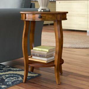 Wood End Table Shelf Drawer Storage Side Coffee Sofa Living Room Nightstand Home