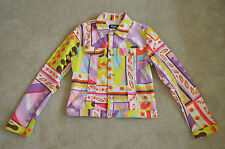 Dolce & Gabbana Multi Colour Print Button Denim Jacket Coat Womens Large UK 12
