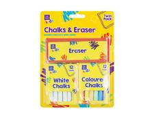 New 25 Piece Chalk Eraser Set Kids White Coloured Chalk Stick Craft