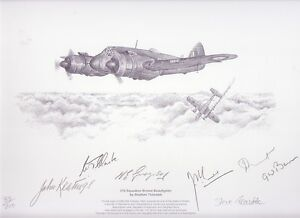RAF Bristol Beaufighter print signed 6 Battle of Britain 219 Squadron veterans