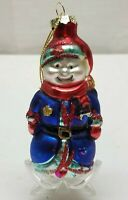 Vintage Christmas Tree Ornament Blown Glass Bauble Decoration Snowman Officer