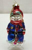 Vintage Christmas Tree Ornament Blown Glass Bauble Decoration Snowman Officer