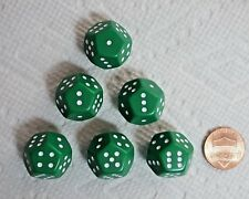 Dice>12-sided (d12) Green w/White Pips Instead of Numbers>>#1 - #6 Twice>Six Set