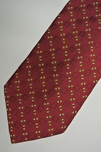 "Burgundy Yellow Geometric Foulard Silk Tie 3.9"" Wide 58"" Long"