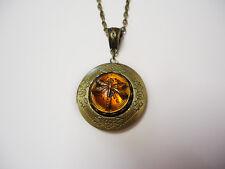 Locket Dragonfly in Amber Outlander inspired Necklace