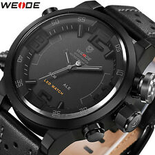 New WEIDE Sports LED Digital Waterproof Leather Strap Mens Quartz Military Watch