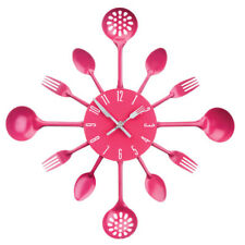 Premier Housewares Metal Wall Clock, Hot Pink Cutlery, Kitchen Design