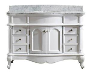 Large 1200MM White Vanity Unit Basin Marble Bathroom Floor Antique Black