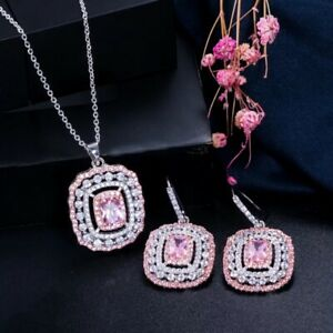 Pink Zircon Jewelry Set Chain Pendant Necklace Earrings Sparkly Pink Silver Set