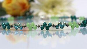 Glass Jewels Silber Halskette Kette Collier Perlen Grün Petrol Verlauf #MA037