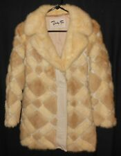 Vtg. Mink Fur Coat Blonde Mink & White Leather Bensky Furs Very Fine Small