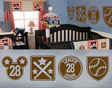 Vintage Mickey Plaques Sports Theme Vinyl Wall Decal Nursery Wall Art