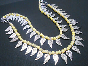 Anklet Silver Plated Indian Payal Yellow Beads Leaf Charm Ankle Chain Pair