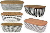 Black Cream Bamboo Bread Bin Bread Crock With Lid as a Chopping board